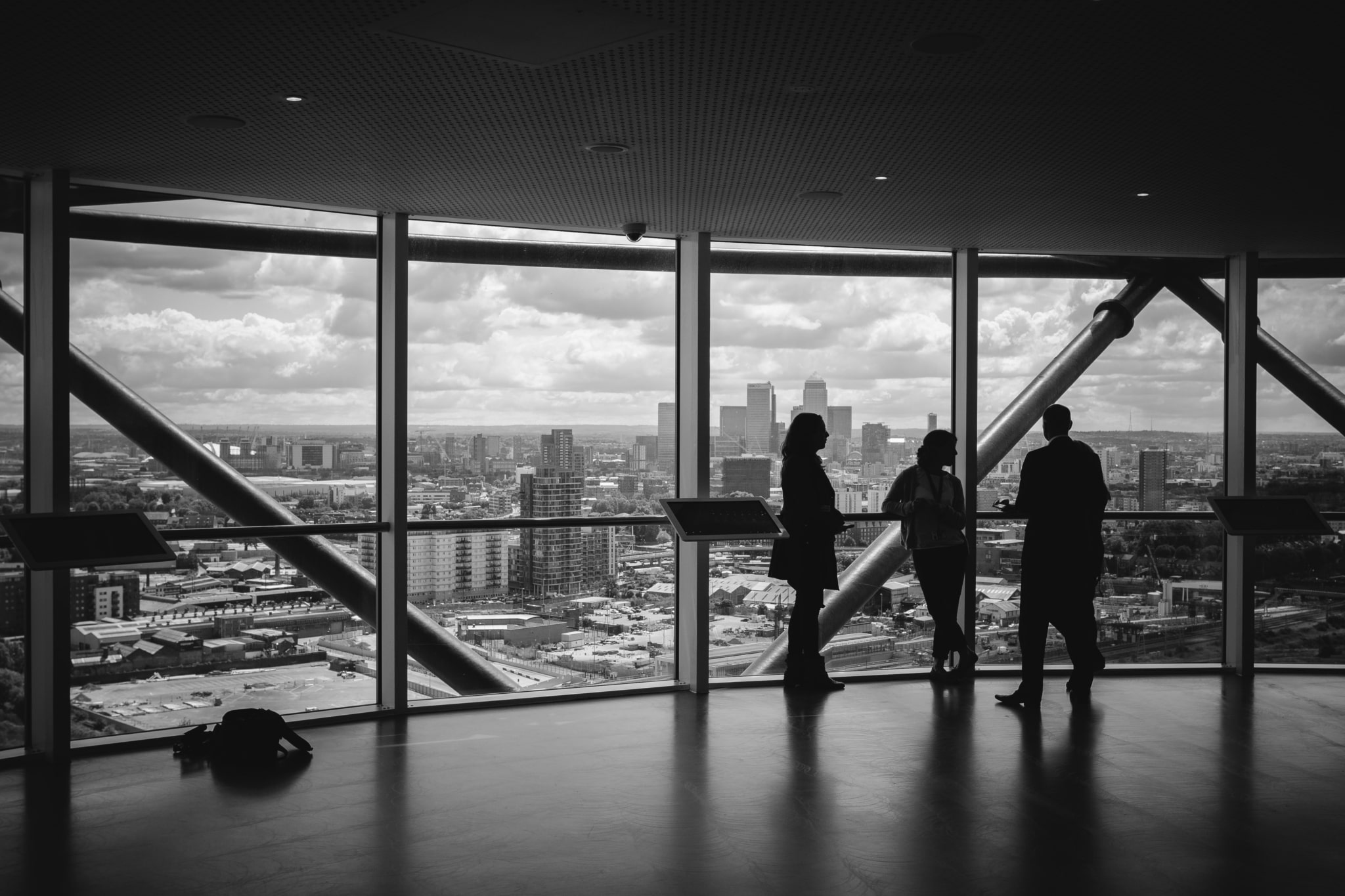 Black and white photo of an office in a high building